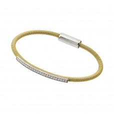 **Closeout** Wholesale Sterling Silver 925 Rhodium and Gold Plated Clear CZ Italian Bracelet - ITB00166GP