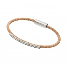**Closeout** Wholesale Sterling Silver 925 Rhodium and Rose Gold Plated Clear CZ Italian Bracelet - ITB00166RGP