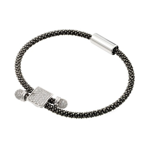 -Closeout- Wholesale Sterling Silver 925 Rhodium and Black Rhodium Plated Square Micro Pave Clear CZ Beaded Italian Bracelet - ITB00169BLK