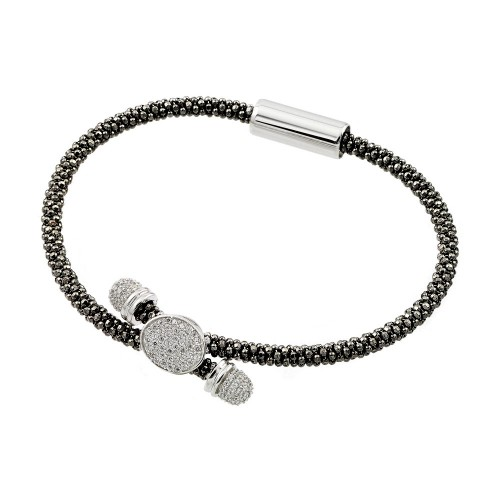 -Closeout- Wholesale Sterling Silver 925 Rhodium and Black Rhodium Plated Circle Micro Pave Clear CZ Beaded Italian Bracelet - ITB00170BLK