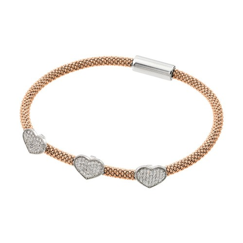 Wholesale Sterling Silver 925 Rhodium and Rose Gold Plated Heart Micro Pave Clear CZ Beaded Italian Bracelet - ITB00173RGP