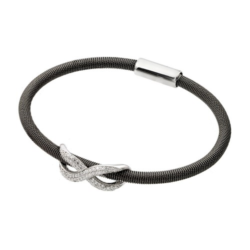 -Closeout- Wholesale Sterling Silver 925 Rhodium and Black Rhodium Plated Infinity Micro Pave Clear CZ Italian Bracelet - ITB00174BLK