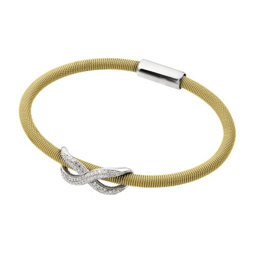 -Closeout- Wholesale Sterling Silver 925 Rhodium and Gold Plated Infinity Micro Pave Clear CZ Italian Bracelet - ITB00174GP