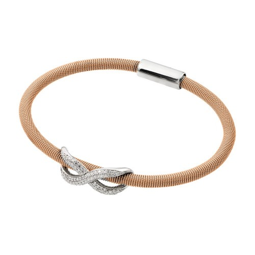 -Closeout- Wholesale Sterling Silver 925 Rhodium and Rose Gold Plated Infinity Micro Pave Clear CZ Italian Bracelet - ITB00174RGP