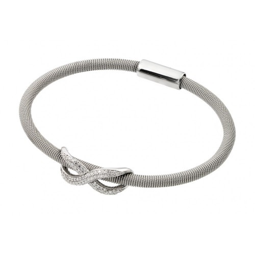 -Closeout- Wholesale Sterling Silver 925 Rhodium Plated Infinity Micro Pave Clear CZ Italian Bracelet - ITB00174RH
