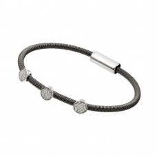 Wholesale Sterling Silver 925 Rhodium and Black Rhodium Plated Circle Micro Pave Clear CZ Italian Bracelet - ITB00175BLK