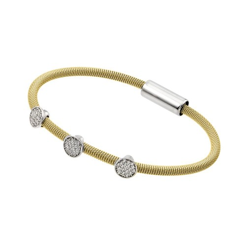 Wholesale Sterling Silver 925 Rhodium and Gold Plated Circle Micro Pave Clear CZ Italian Bracelet - ITB00175GP