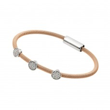 Wholesale Sterling Silver 925 Rhodium and Rose Gold Plated Circle Micro Pave Clear CZ Italian Bracelet - ITB00175RGP
