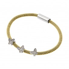 **Closeout** Wholesale Sterling Silver 925 Rhodium and Gold Plated Butterfly Micro Pave Clear CZ Beaded Italian Bracelet - ITB00176GP