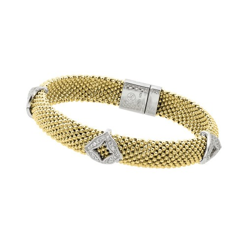-Closeout- Wholesale Sterling Silver 925 Gold Plated Micro Pave Diagonal Square Clear CZ Beaded Italian Bracelet - PSB00004GP