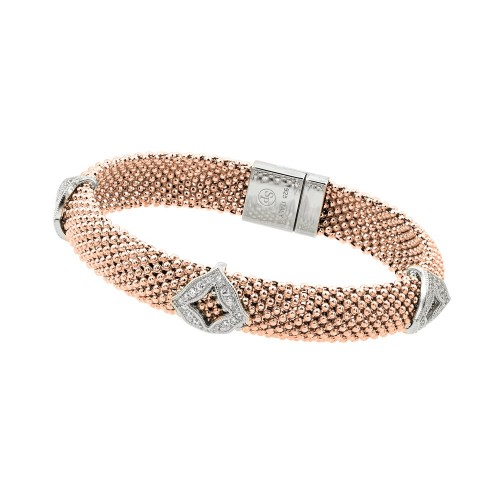 -Closeout- Wholesale Sterling Silver 925 Rose Gold Plated Micro Pave Diagonal Square Clear CZ Beaded Italian Bracelet - PSB00004RGP
