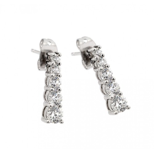 Wholesale Sterling Silver 925 Rhodium Plated Graduated Round CZ Stud Earrings - BGE00402