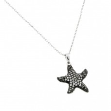 Wholesale Sterling Silver 925 Black Rhodium Plated Clear CZ Star Fish Pendant Necklace - BGP00919