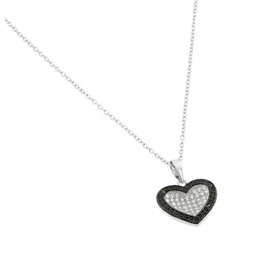 Wholesale Sterling Silver 925 Rhodium and Black Rhodium Plated Clear CZ Pave Pendant Necklace - BGP00920