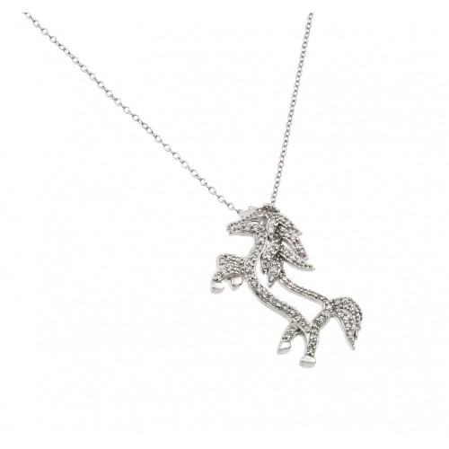 Wholesale Sterling Silver 925 Rhodium Plated Clear CZ Standing Horse Pendant Necklace - BGP00938
