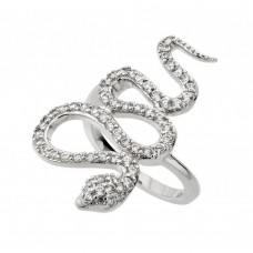 Wholesale Sterling Silver 925 Rhodium Plated Clear CZ Snake Ring - BGR00846