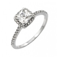 Wholesale Sterling Silver 925 Rhodium Plated Clear CZ Square Ring - BGR00862