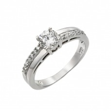 Wholesale Sterling Silver 925 Rhodium Plated Clear Round Center CZ Bridal Ring - BGR00867