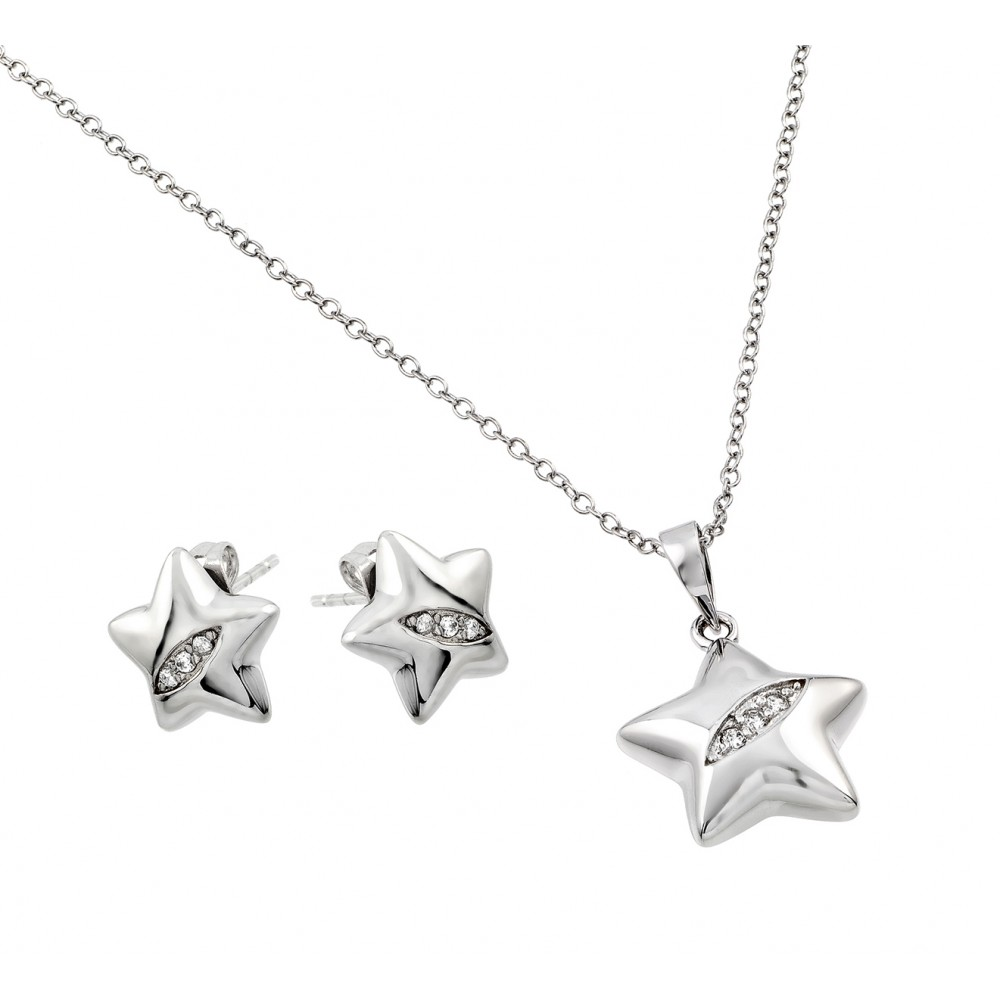 Wholesale Sterling Silver 925 Rhodium Plated Clear Star Slash CZ Stud Earring and Necklace Set - BGS00436