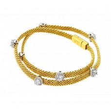 **Closeout** Wholesale Sterling Silver 925 Gold Plated Round Clear CZ Double Wrap Beaded Italian Bracelet - PSB000010GP