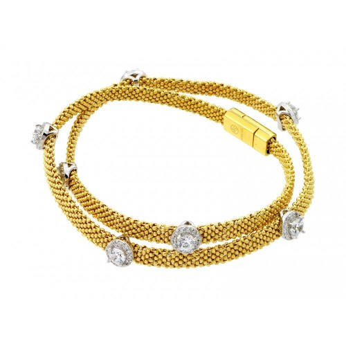 -Closeout- Wholesale Sterling Silver 925 Gold Plated Round Clear CZ Double Wrap Beaded Italian Bracelet - PSB000010GP