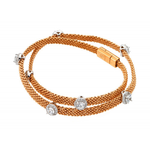 -Closeout- Wholesale Sterling Silver 925 Rose Gold Plated Round Clear CZ Double Wrap Beaded Italian Bracelet - PSB000010RGP