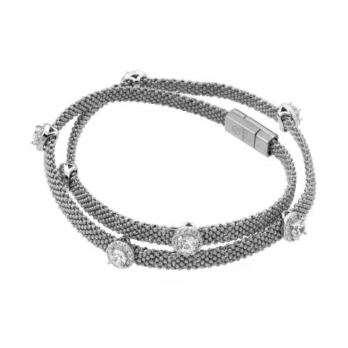 -Closeout- Wholesale Sterling Silver 925 Rhodium Plated Round Clear CZ Double Wrap Beaded Italian Bracelet - PSB000010RH