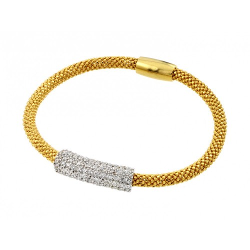 -Closeout-  Wholesale Sterling Silver 925 Gold Plated Pave Set Clear CZ Beaded Italian Bracelet - PSB000015GP