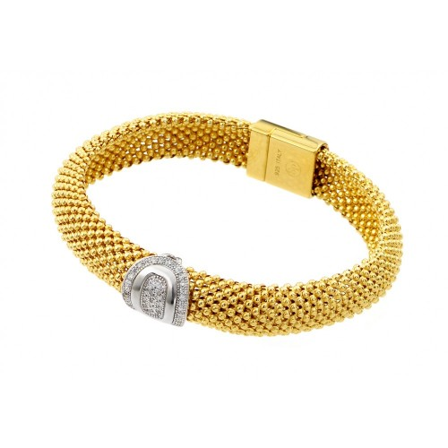 -Closeout- Wholesale Sterling Silver 925 Gold Plated Oval Micro Pave Clear CZ Beaded Italian Bracelet - PSB000016GP