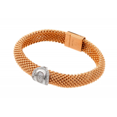 -Closeout- Wholesale Sterling Silver 925 Rose Gold Plated Oval Micro Pave Clear CZ Beaded Italian Bracelet - PSB000016RGP