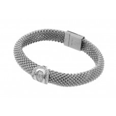 **Closeout** Wholesale Sterling Silver 925 Rhodium Plated Oval Micro Pave Clear CZ Beaded Italian Bracelet - PSB000016RH