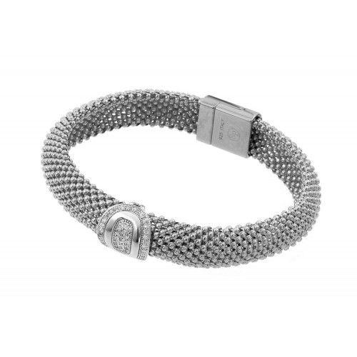 -Closeout- Wholesale Sterling Silver 925 Rhodium Plated Oval Micro Pave Clear CZ Beaded Italian Bracelet - PSB000016RH