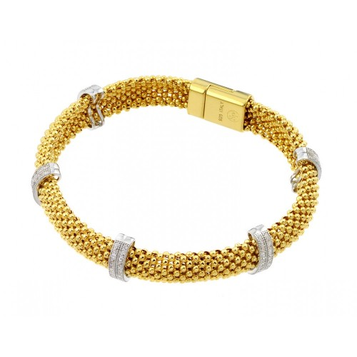 -Closeout- Wholesale Sterling Silver 925 Gold Plated Micro Pave Clear CZ Beaded Italian Bracelet - PSB000017GP