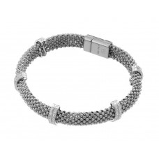 **Closeout** Wholesale Sterling Silver 925 Rhodium Plated Micro Pave Clear CZ Beaded Italian Bracelet - PSB000017RH