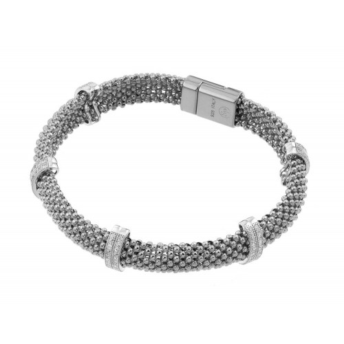 -Closeout- Wholesale Sterling Silver 925 Rhodium Plated Micro Pave Clear CZ Beaded Italian Bracelet - PSB000017RH