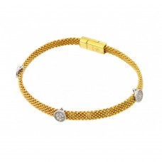 Sterling Silver Gold Plated Round Clear CZ Beaded Italian Bracelet PSB000018GP