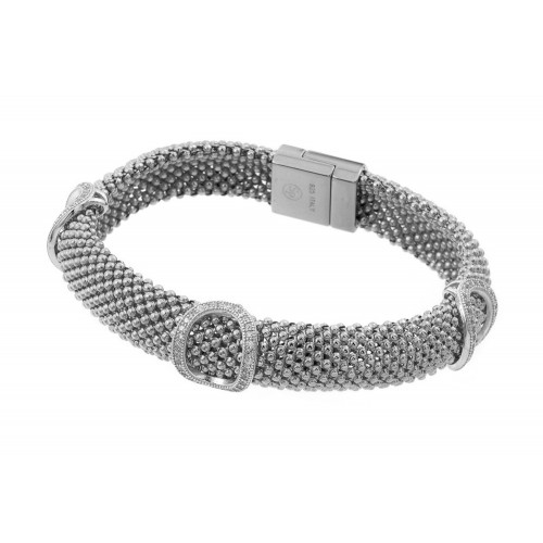 -Closeout- Wholesale Sterling Silver 925 Rose Gold Plated Micro Pave Oval Clear CZ Beaded Italian Bracelet - PSB00003RH