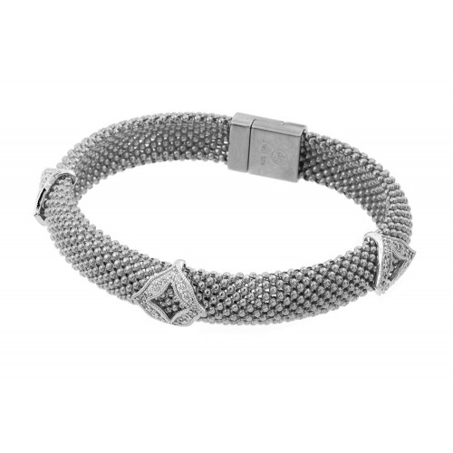 -Closeout- Wholesale Sterling Silver 925 Rhodium Plated Micro Pave Diagonal Square Clear CZ Beaded Italian Bracelet - PSB00004