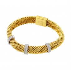 **Closeout** Wholesale Sterling Silver 925 Gold Plated Micro Pave Clear CZ Beaded Italian Bracelet - PSB00005GP