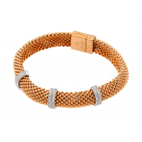 -Closeout- Wholesale Sterling Silver 925 Rose Gold Plated Micro Pave Clear CZ Beaded Italian Bracelet - PSB00005RGP