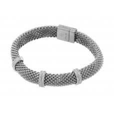 **Closeout** Wholesale Sterling Silver 925 Rhodium Plated Micro Pave Clear CZ Beaded Italian Bracelet - PSB00005RH