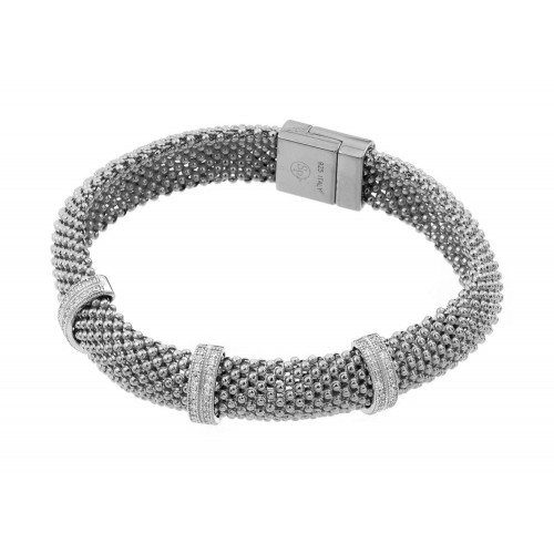 -Closeout- Wholesale Sterling Silver 925 Rhodium Plated Micro Pave Clear CZ Beaded Italian Bracelet - PSB00005RH