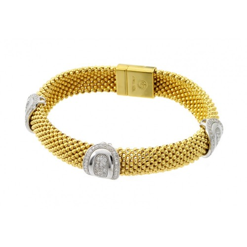 -Closeout- Wholesale Sterling Silver 925 Gold Plated Micro Pave Round Oval Clear CZ Beaded Italian Bracelet - PSB00007GP