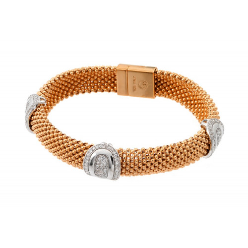 -Closeout- Wholesale Sterling Silver 925 Rose Gold Plated Micro Pave Round Oval Clear CZ Beaded Italian Bracelet - PSB00007RGP