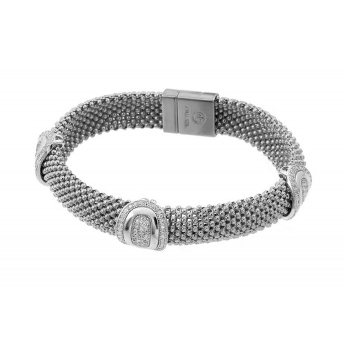 -Closeout- Wholesale Sterling Silver 925 Rhodium Plated Micro Pave Round Oval Clear CZ Beaded Italian Bracelet - PSB00007RH