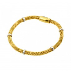 **Closeout** Wholesale Sterling Silver 925 Gold Plated Thin Beaded Italian Bracelet - PSB00008GP