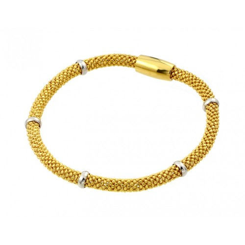 -Closeout- Wholesale Sterling Silver 925 Gold Plated Thin Beaded Italian Bracelet - PSB00008GP
