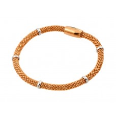 **Closeout** Wholesale Sterling Silver 925 Rose Gold Plated Thin Beaded Italian Bracelet - PSB00008RGP