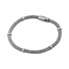 **Closeout** Wholesale Sterling Silver 925 Rhodium Plated Thin Beaded Italian Bracelet - PSB00008RH