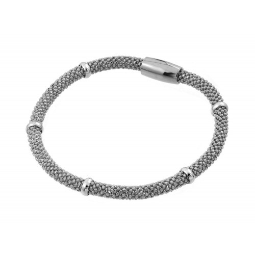 -Closeout- Wholesale Sterling Silver 925 Rhodium Plated Thin Beaded Italian Bracelet - PSB00008RH
